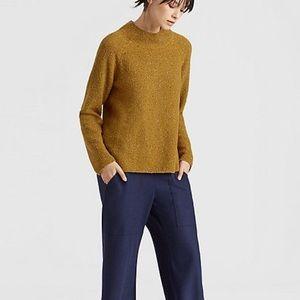Eileen Fisher Annatto Organic Cotton Tweedy Funnel Neck Sweater Large/XL